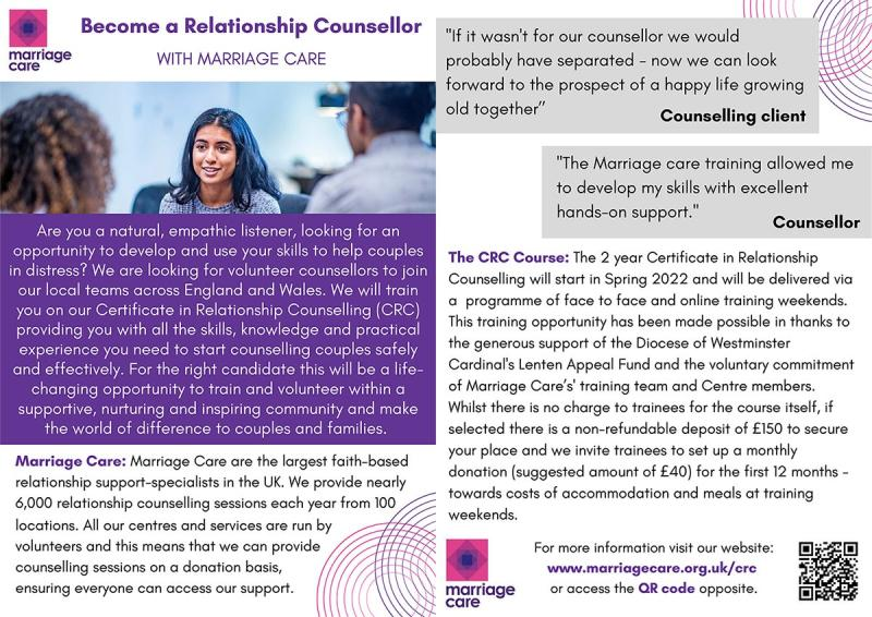 Marriage Care : two-year Certificate in Relationship Counselling