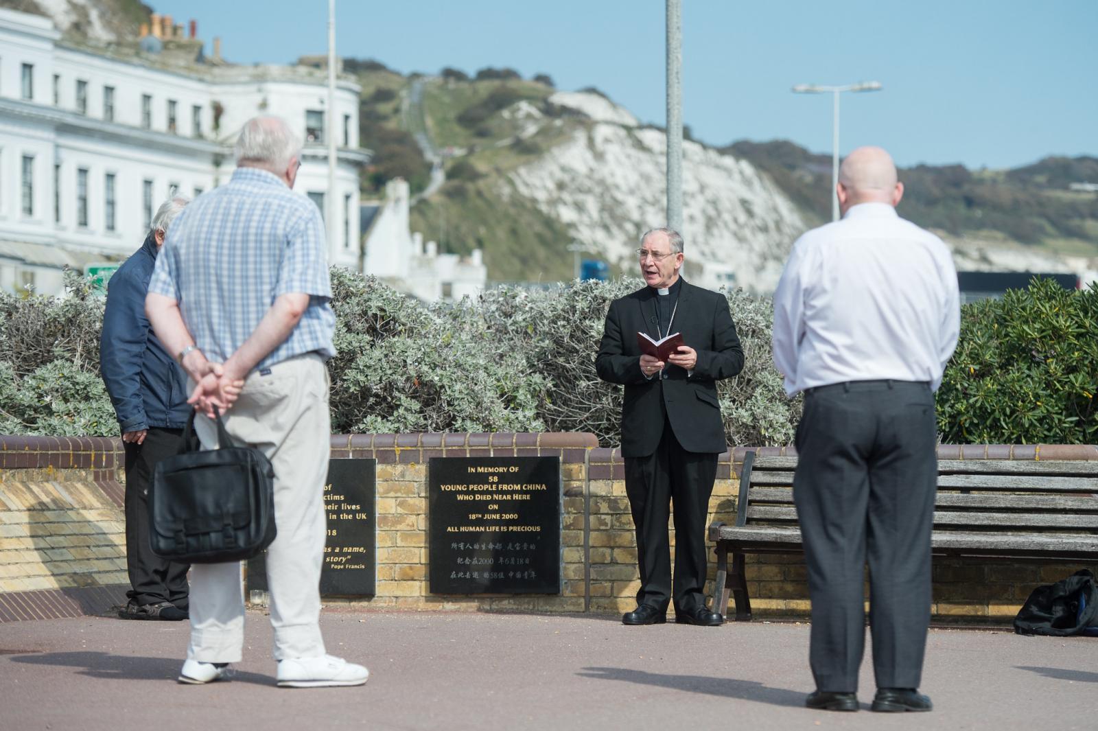 Bishop McAleenan meets charity workers and volunteers helping refugees in Dover