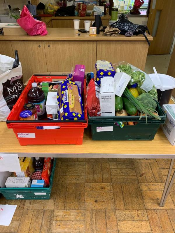 Hitchin and Letchworth families receive essential food hampers