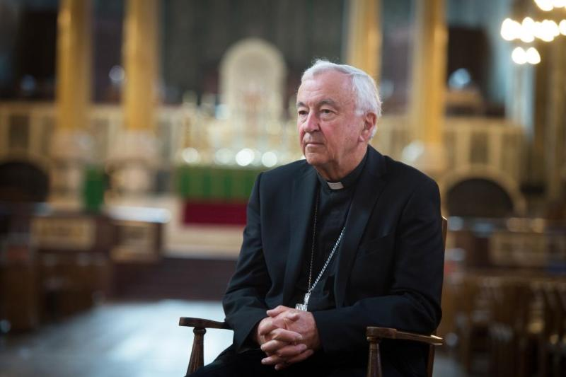 Cardinal Vincent being interviewed in Westminster Cathedral ahead of reopening (Mazur/CBCEW.org.uk)