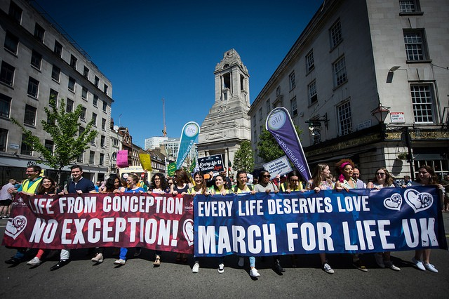Crowds rallying at the March for Life in Central London.
