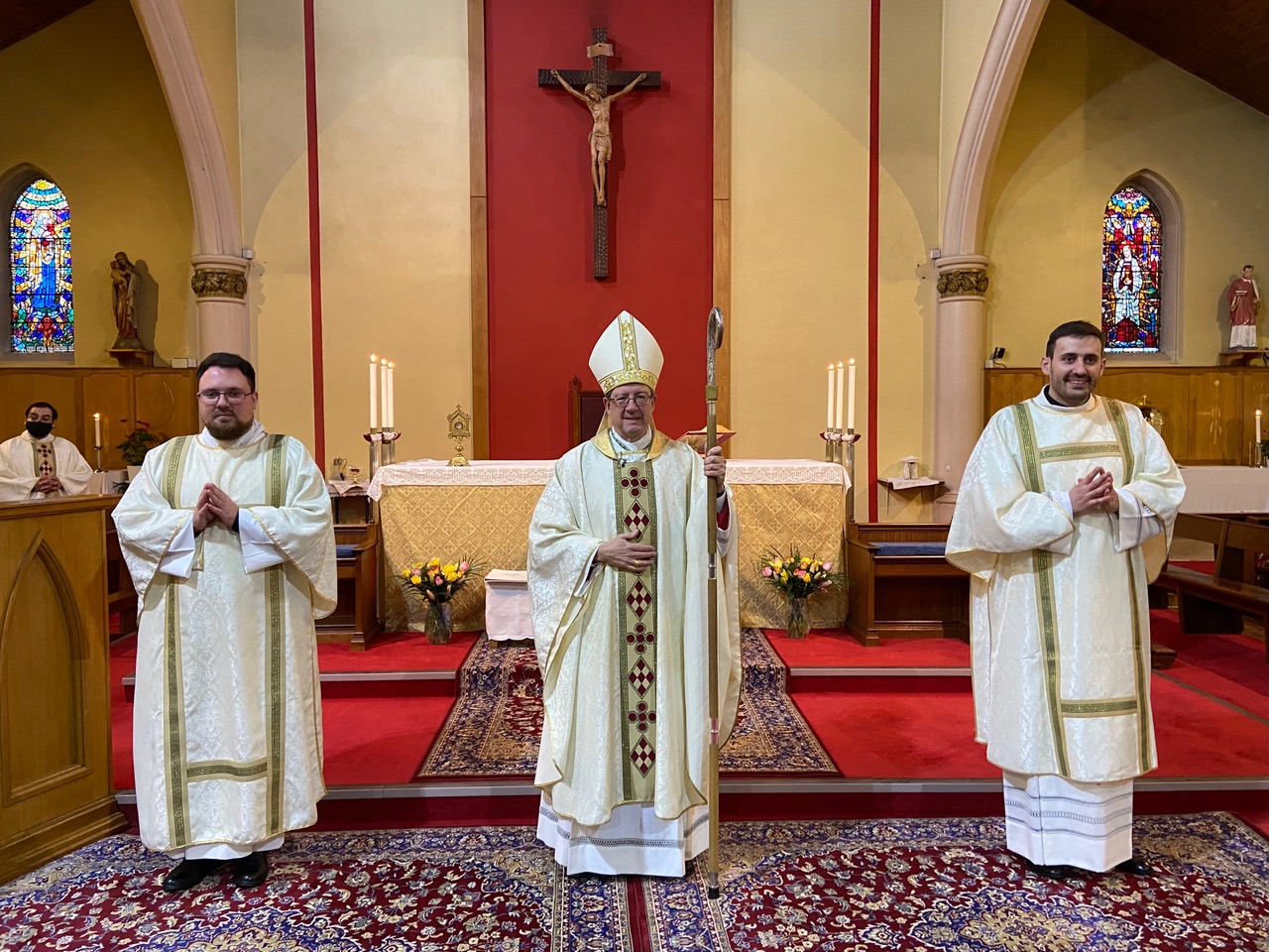 (from left to right) Deacon Jakub Joszko, Bishop John Sherrington, Deacon Marco Salvagnini